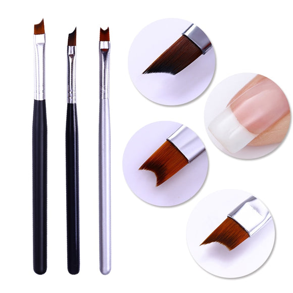 French Tip Nail Brush Silver Black Handle Half Moon Shape Acrylic Painting Drawing Pen Manicure Nail Art Tool - 88digital