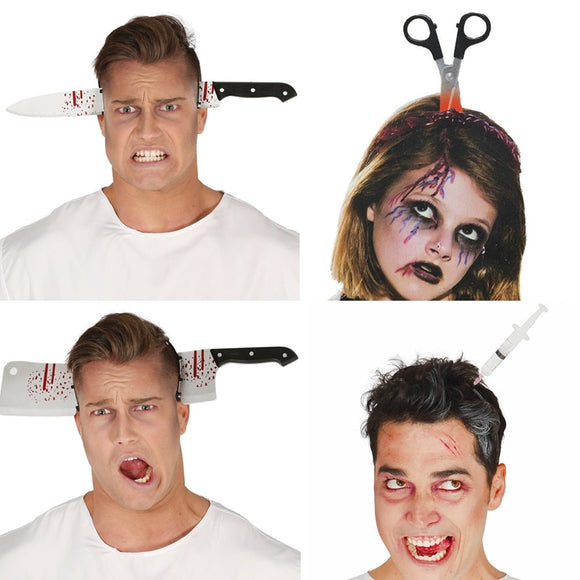 Funny Scary Toys Halloween Perform Props Axe Saw Nail Knife Headwear Fake Blood Scene Halloween Party Headband Decoration - 88digital