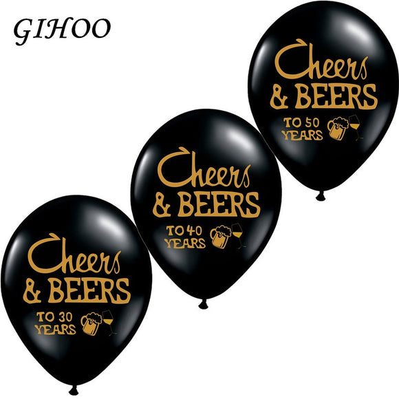 10pcs Cheers&Beers 21 30 40 50 Years Wedding Anniversary 10inch Latex Balloons Birthday Adults Party Decorations Supplies - 88digital