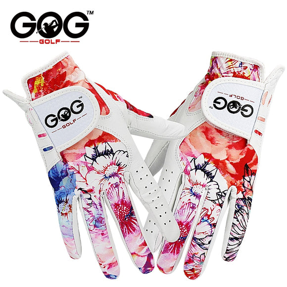 GOLF GLOVES SPORT GLOVES LEFT + RIGHT HAND 1 PAIR GENUINE LEATHER & COLORFUL FABRIC FOR WOMEN LADY GRIL NON-SLIP GOG BRAND NEW - 88digital