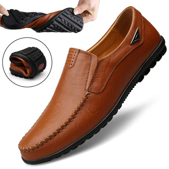 Genuine Leather Mens Moccasin Shoes Black Men Flats Breathable Casual Italian Loafers Comfortable Plus Size 37-47 Driving Shoes - 88digital