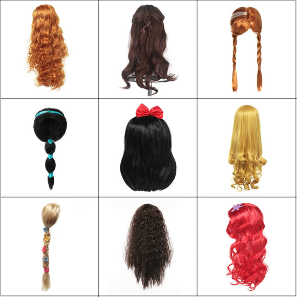 Girls Elsa Princess Dress up Wig Children Jasmine Cosplay Wigs Moana Ariel Costume Accessories Rapunzel Braid Halloween Party - 88digital