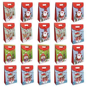 20pcs Christmas Flip Gift Bags Cute Cartoon Candy Bag Paper Cookie Pouch for Birthday Party Wedding (Random Pattern)