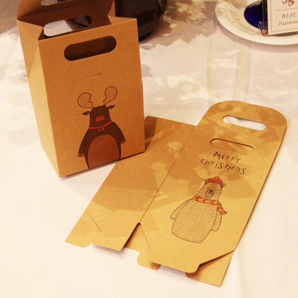 Christmas Santa Claus Craft Paper Box Concise Brown Kraft Paper Bag Christmas Gift Bag Packaging Supplies USA