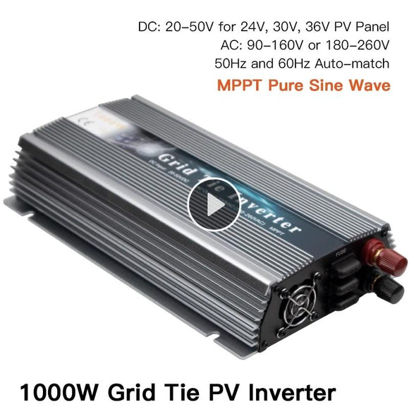 1000W On Grid Tie Solar Inverter, 20-50V DC to AC 80-260V Pure Sine Wave Inverter for 1000-1200W 24V, 30V, 36V PV or Wind Power