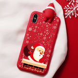 Christmas Cartoon Deer Case For iPhone X and XS Silicone Matte Cover Case Bear