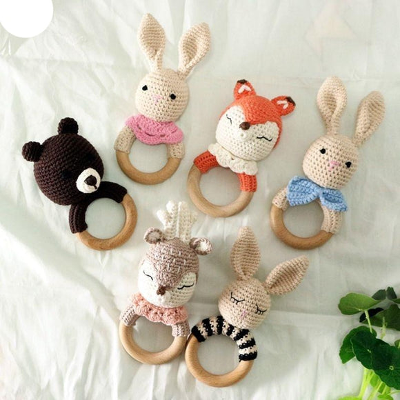 BPA Free Crochet Wooden Ring Baby Teether Safe Cute Animal Rattle Chewing Teething Nursing Soother Molar Infant Toy Accessories