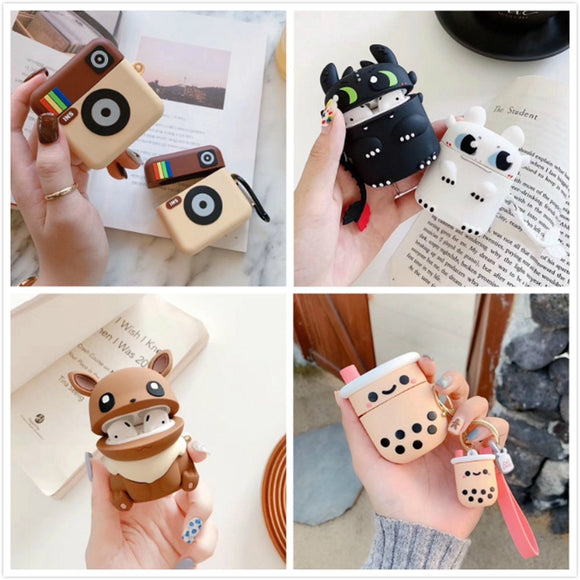 Earphone Case For Airpods Case Silicone Cute Cartoon Soft Headphone Case for Apple Air pods Earpods Cover 3D Bear Accessories