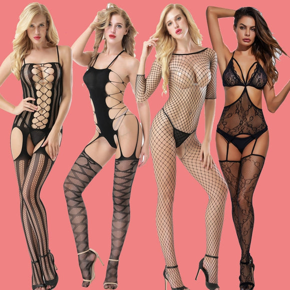 Teddy Sexy Lingerie Erotic Underwear Women Mesh Body Stockings Porno Lenceria Sexy Body Suits Plus Size Sexy Costumes Sleepwear