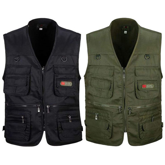Men's Fishing Vest Outdoor Sport Fishing Life Vest with Multi-Pocket Zip For Photography Hunting Travel Outdoor Sport Jacket