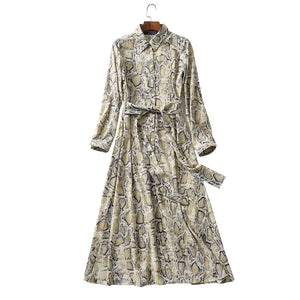 Vintage Snake Print Sashes Long Shirt Dress Women 2019 Fashion Long Sleeve Animal Pattern Ankle Length Dresses Casual Vestidos - 88digital