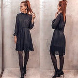 Fashion Spring Autumn Chiffon Dresses Women Print Dress Casual Cute floral Long Bowknot Dresses Long Sleeve Thick Dress - 88digital