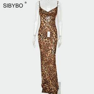 Sibybo Leopard Print Spaghetti Strap Sexy Dress Women Autumn Sleeveless V-Neck Loose Mini Bodycon Dress Backless Casual Dress - 88digital