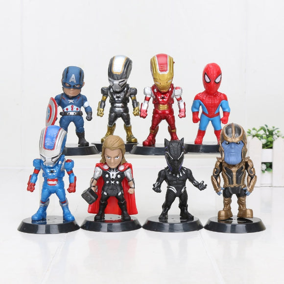 8pcs/set Marvel Avengers endgame Movie Anime Thanos Captain America Ironman Spiderman hulk thor Action Figure Toys gift