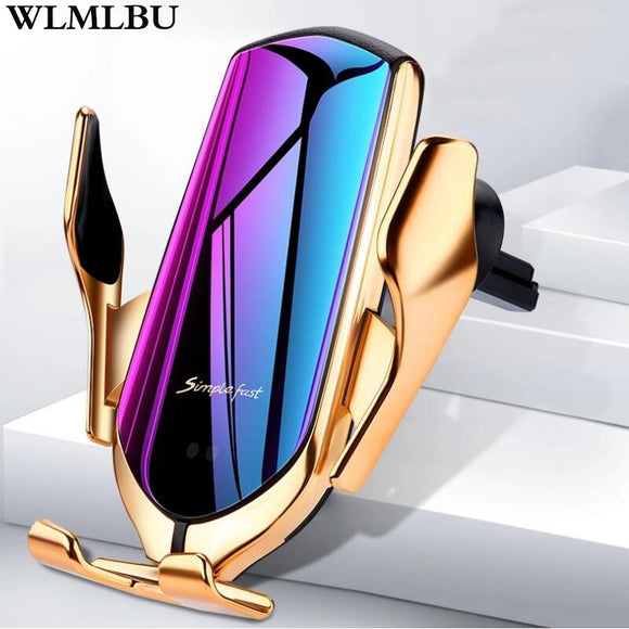 R1 Automatic Clamping 10W Car Wireless Charger For iPhone Xs Huawei LG Infrared Induction Qi Wireless Charger Car Phone Holder