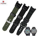 AOOW Military Green Nylon Watchband for Casio SGW-100 Waterproof Strap Replacement Driving Sport Watch Accessories