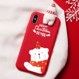 Christmas Cartoon Deer Case For iPhone 7 8 Silicone Matte Cover Case Bear