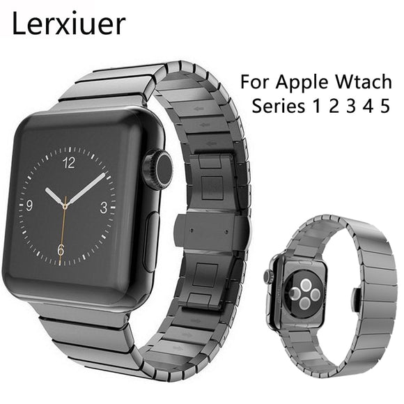 Stainless Steel strap for Apple Watch band 44mm 40mm iWatch 5 4 3 2 1 band 42mm/38mm Butterfly buckle Metal Bracelet Accessories USA