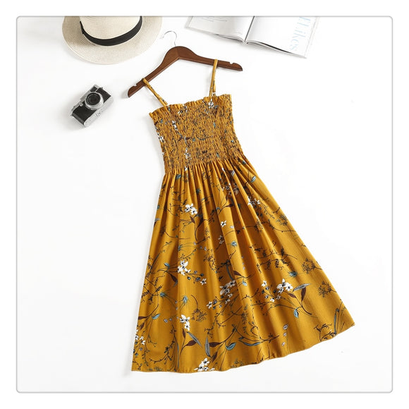24 Colors Women Summer Floral Dress 2019 Femail Sleeveless Slim Cotton Spaghetti Strap Print Dress Women Elegant Casual Dress - 88digital