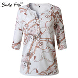 Letters Printed Buttons V-neck Tops Autumn Women Fashion Lady White Blouse 3XL Long Sleeve Shirts Spring Blusas Plus Size M0303