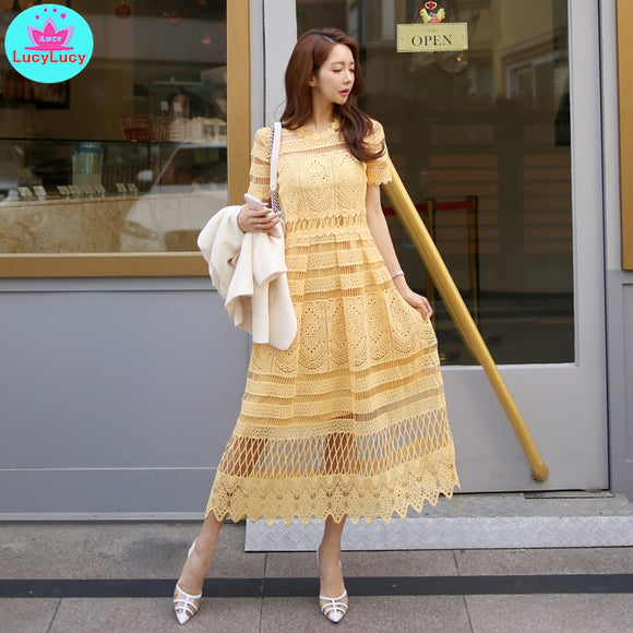Summer Korean temperament lace collar waist openwork lace big swing long   holiday dress female  Solid  Mesh - 88digital