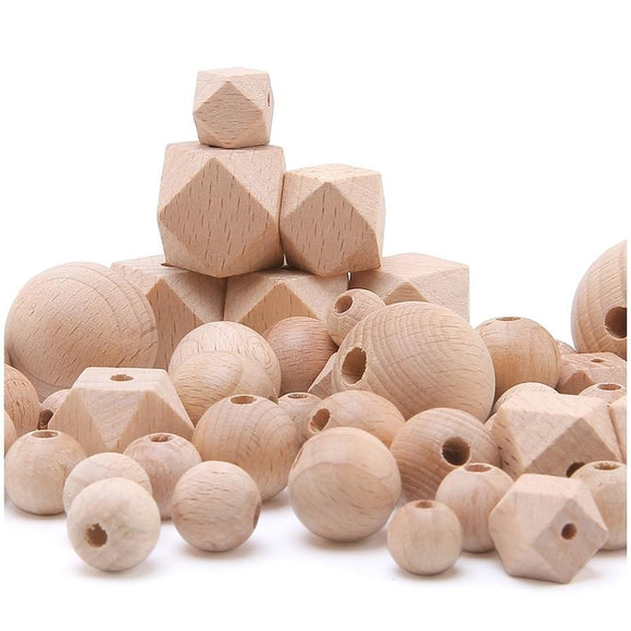 Bopoobo Beech Wooden Beads Teether Chewable 8-20mm Wood Tiny Rod For Children Beech  Wood Ring Teething Beads For Baby Teether