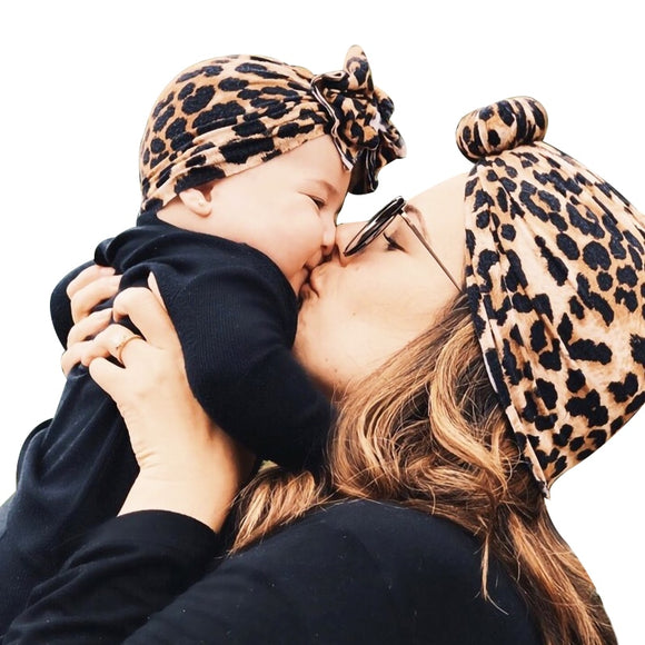 Newborn Infant Baby Girl Boy Mom Turban Hat Bows Flower Head Wrap Leopard India Hat Cotton Cap Parent-child Suit Beanie