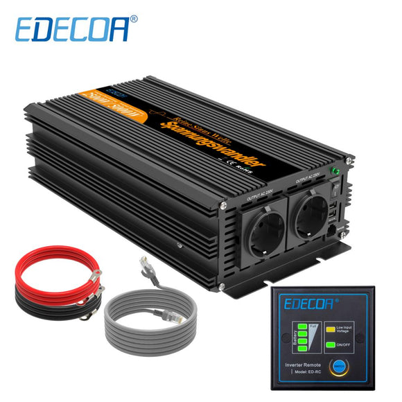2500W pure sine wave solar power inverter DC 12V 24V to AC 220V 230V peak 5000W with remote controller off grid inverter