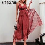 Sexy deep v neck backless summer pink dress women Elegant lace evening maxi dress Holiday long party dress - 88digital