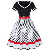 Plus Size Women Polka Dot Print Vintage Dress V-Neck Short Sleeve Belt Hepburn Dress Sweetheart Pin Up 50s Party Dresses Vestido