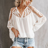 Vintacy Women Boho Top Blouses White Summer Sexy V Neck Long Flare Sleeve Sexy Hollow Travel Top Appliques Casual Vocation