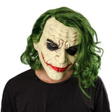 Movie Batman The Dark Knight Cosplay Horror Scary Clown Mask Joker Mask with Green Hair Wig Halloween Latex Mask Party Costume