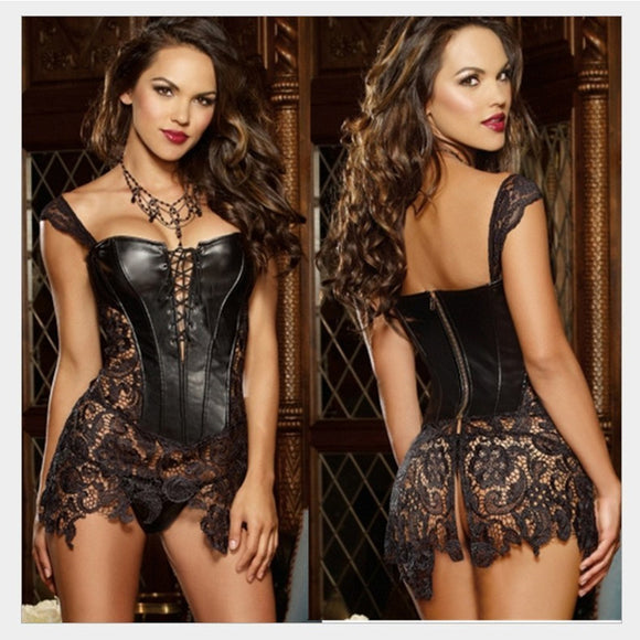 X 6XL Sexy Lingerie Women Faux Leather Lace Burlesque Steampunk Corset Dress Set Plus Size Steel Boned Gothic Bustier Corpet - 88digital