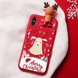 Christmas Cartoon Deer Case For iPhone XR Silicone Matte Cover Case Bear