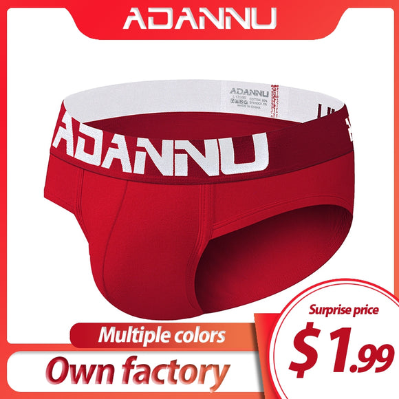 ADANNU Brand Sexy Men Briefs Men Underwear Cotton Breathable Male Pants Cueca Tanga Slip Homme Men Underpants Gay Underwear