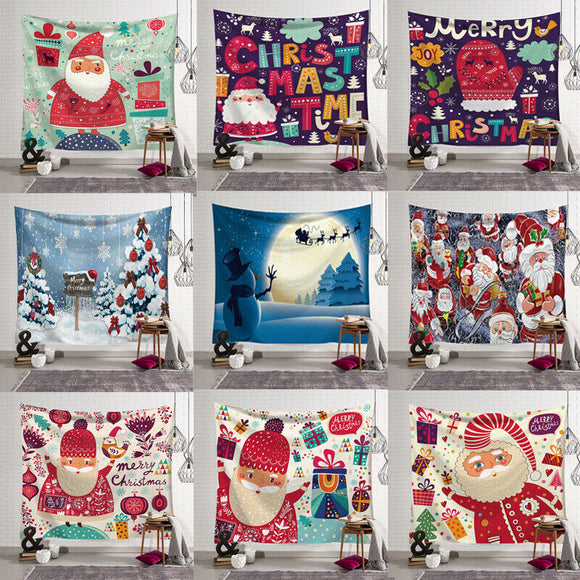 Christmas Tapestry Wall Hanging Shower Curtain Bedspread Throw Art Santa Claus Snowman Print Christmas New Year Home Decor
