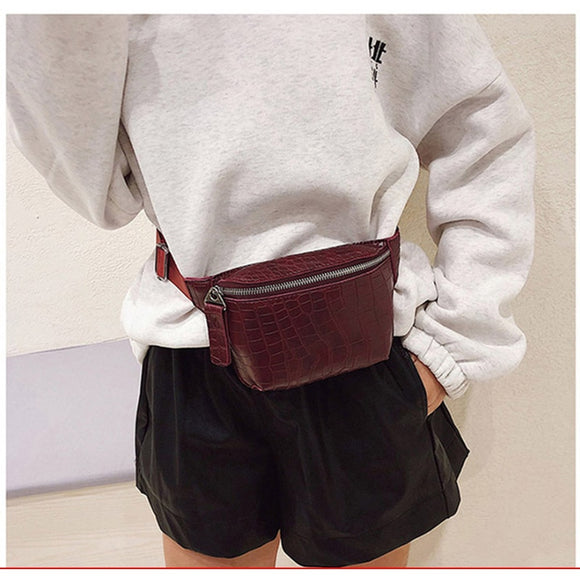 Waist Bag Women PU Leather Fanny Pack Fashion Belt Bag Women Phone Pouch Casual Black Chest Bags Girls Shoulder Backpack - 88digital
