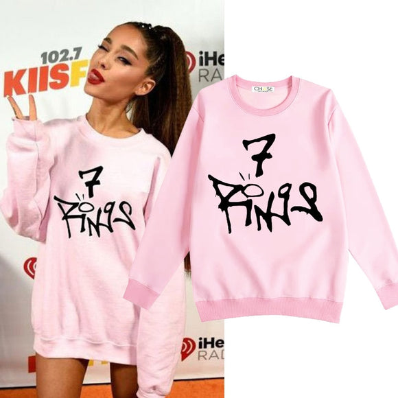 Ariana Grande 7 Rings Same Style Sweatshirt Ladies Long Sleeve Pink Casual Hoodies women Autumn Winter thick Pullover Tops