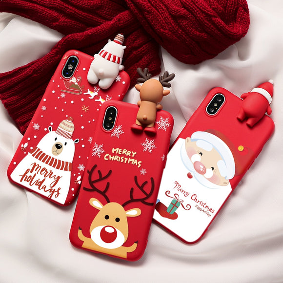 Christmas Cartoon Deer Case For iPhone 11 Pro Silicone Matte Cover Case Bear