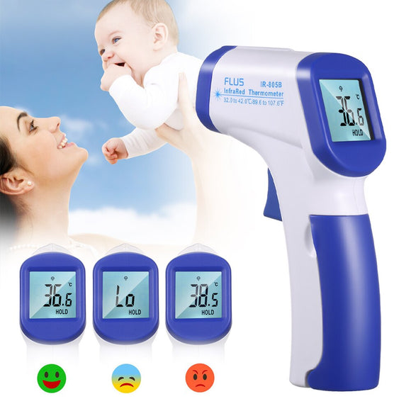 Infrared Thermometro Laser IR Temperature Meter Digital Non-contact Thermometro Gun LCD Display with Fever Alarm Household Use