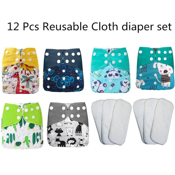 [simfamily]12pcs/set Washable Cloth Diaper Cover Adjustable Nappy Reusable Cloth Diapers Available 0-3years 3-15kg baby