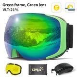 Magnetic Ski Goggles with 2s Quick-change Lens and Case Set UV400 Protection Anti-fog Snowboard Ski Glasses for Men Women