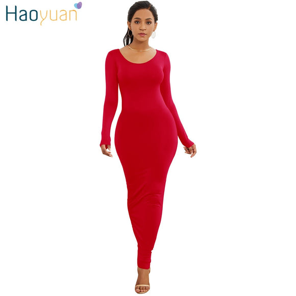 HAOYUAN Long Sleeve Maxi Dress Elastic Women Sexy Dresses 2019 New Spring Summer Vestido Elegant Casual Boho Beach Bodycon Dress - 88digital