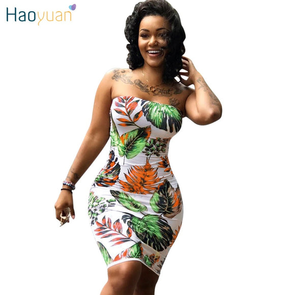 HAOYUAN Plus Size Summer Dress Vestidos Off Shoulder Wrap Sundress Robe Mini Bodycon Boho Beach Dresses Women Club Sexy Dress - 88digital