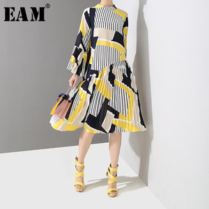 Stand Collar Long Flare Sleeve Pattern Striped Printed Pleated Loose Dress Women - 88digital