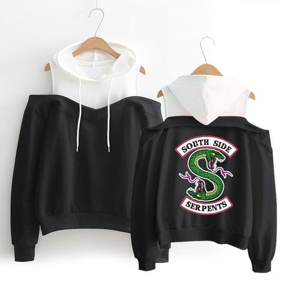Riverdale South Side Serpents Hoodies Southside Serpents Sweatshirts Women Long Sleeve Off-Shoulder Exclusive Hooded Clothes - 88digital