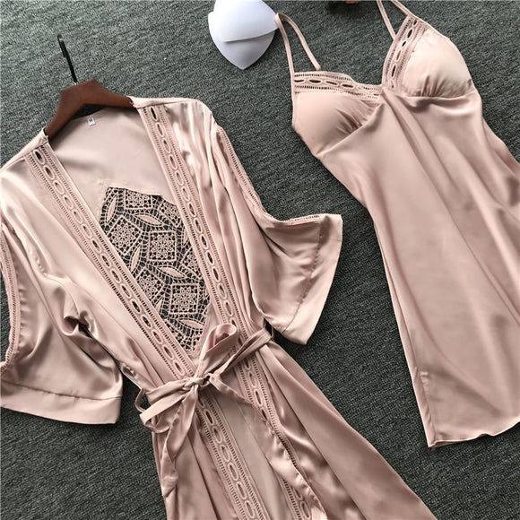 Women Robe & Gown Sets Sexy Lace Sleep Lounge Pijama Long Sleeve Ladies Nightwear Bathrobe Night Dress With Chest Pads - 88digital