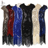 Womens 1920s Vintage Flapper Great Gatsby Party Dress V-Neck Sleeve Sequin Fringe Midi Dresses Accessories Art Deco Embellished - 88digital