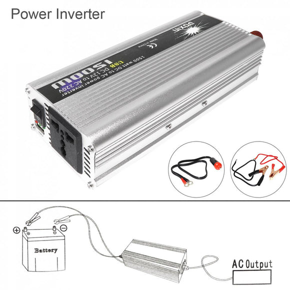 1500W Car Power Inverter DC 12V 24V to AC 220V 110V USB Power Charger Converter Car Inverter Peak Power 3000W