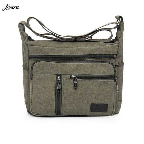 Men Canvas Crossbody Bags Single Shoulder Bags Travel Casual Handbags message bags Solid Zipper Schoolbags for Teenagers - 88digital